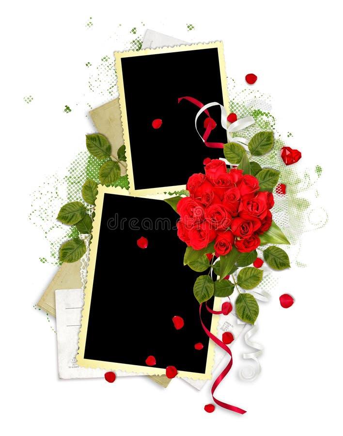Frame branco com as rosas vermelhas no fundo branco ilustração royalty free