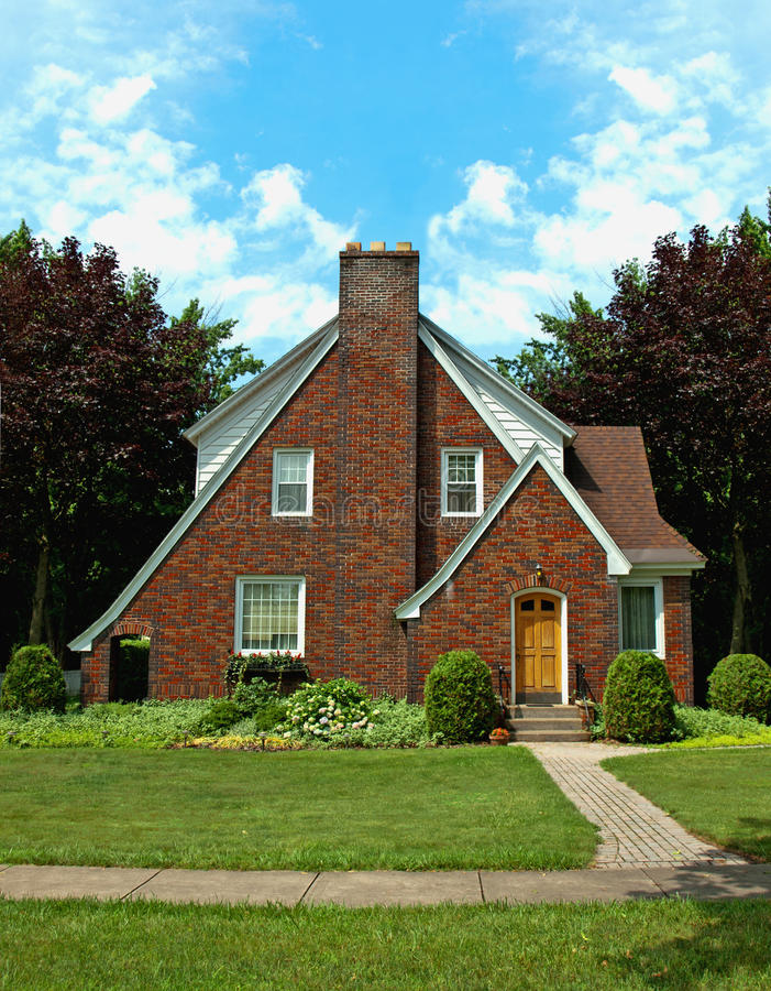 Download A-frame brick home stock photo. Image of clouds, landscaping - 20020346