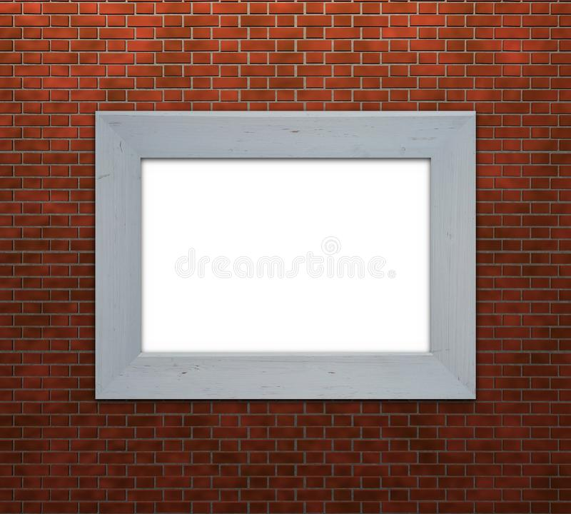 Frame on brick wall stock illustration