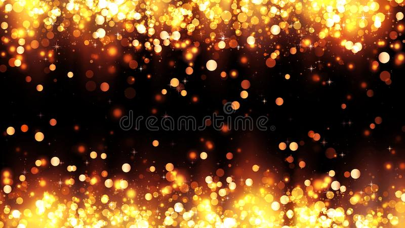 Frame of bright golden particles with magic highlights. Background with golden glitter particles. Beautiful holiday background royalty free stock image