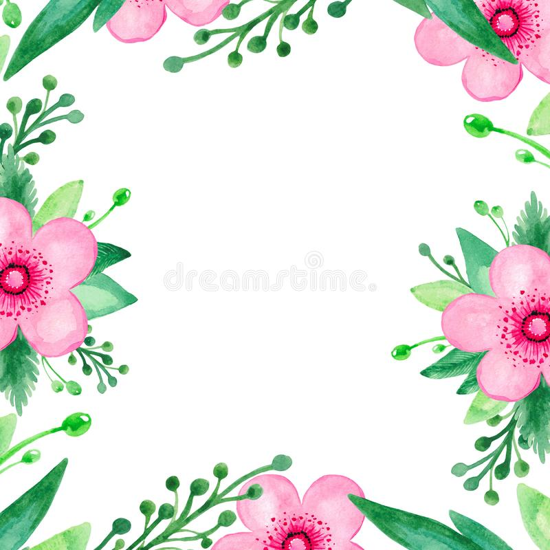 Frame Bright red pink flower green leaves branch on white watercolor isolated background Hand painted with Botanical royalty free illustration