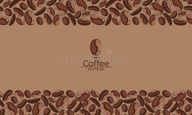 Frame of brown coffee beans with space for text stock illustration