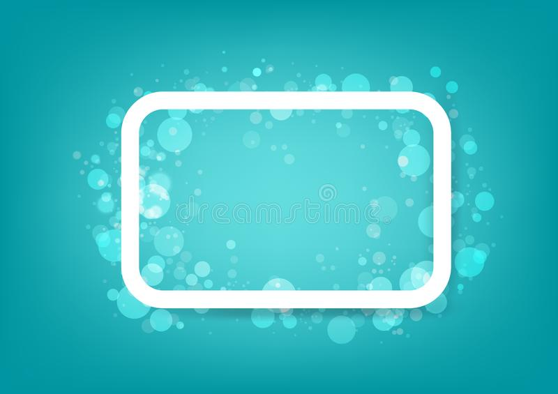 Frame, bubbles in water concept, simple banner poster design, Bokeh abstract background vector illustration. Frame rectangle, bubbles in water concept, simple royalty free illustration