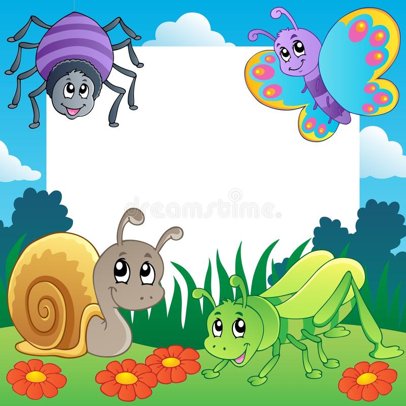 Download Frame with bugs theme 2 stock vector. Illustration of meadow - 25269076