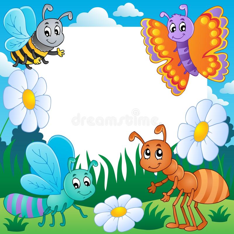 Download Frame with bugs theme 3 stock vector. Illustration of meadow - 25269091