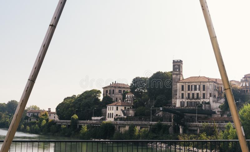 Frame of buildings in Cassano d`Adda next to the river Adda, Italy.  royalty free stock image