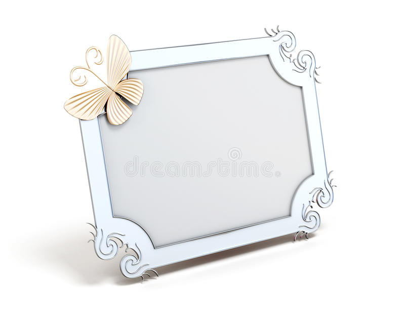 Frame with butterfly for photos on white background. 3d vector illustration
