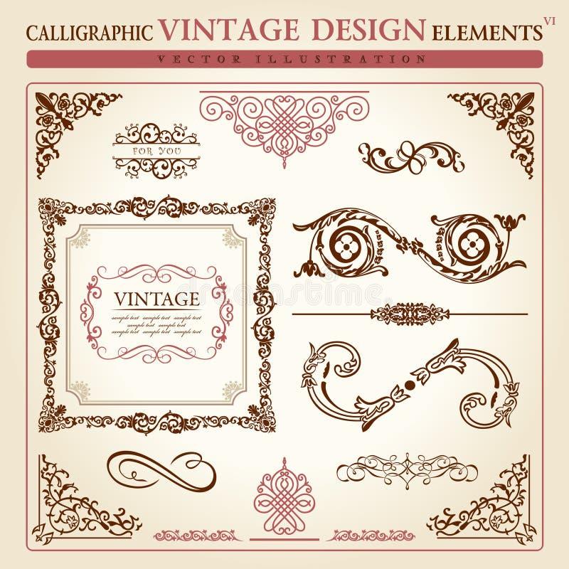 Frame caligráfico do vetor do vintage dos elementos ilustração do vetor