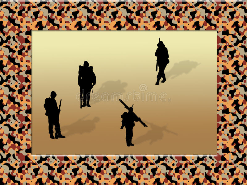 Frame camouflage with soldiers royalty free illustration