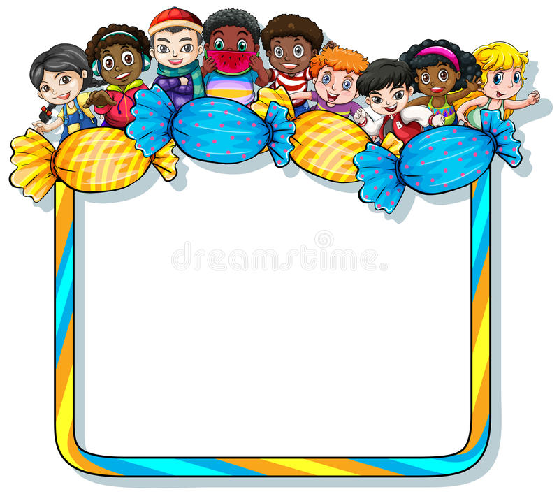 Frame with candies and kids. Empty frame with candies and kids on a white background vector illustration