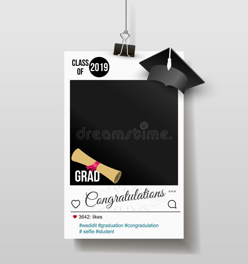 Frame with cap for grads. Graduation party photo booth props. Concept for selfie. Photobooth vector element. Congratulation grad stock illustration