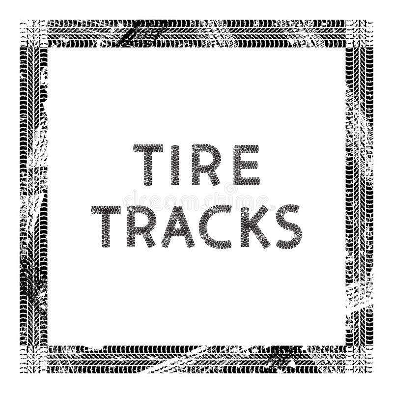 Frame of car tire tracks isolated on white background royalty free illustration