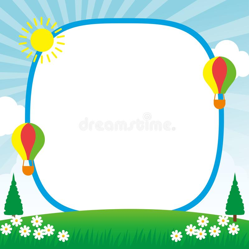 Frame/card design template with spring theme royalty free illustration