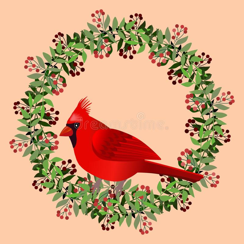 Frame with cardinal bird on branches with berries. Illustration. royalty free illustration