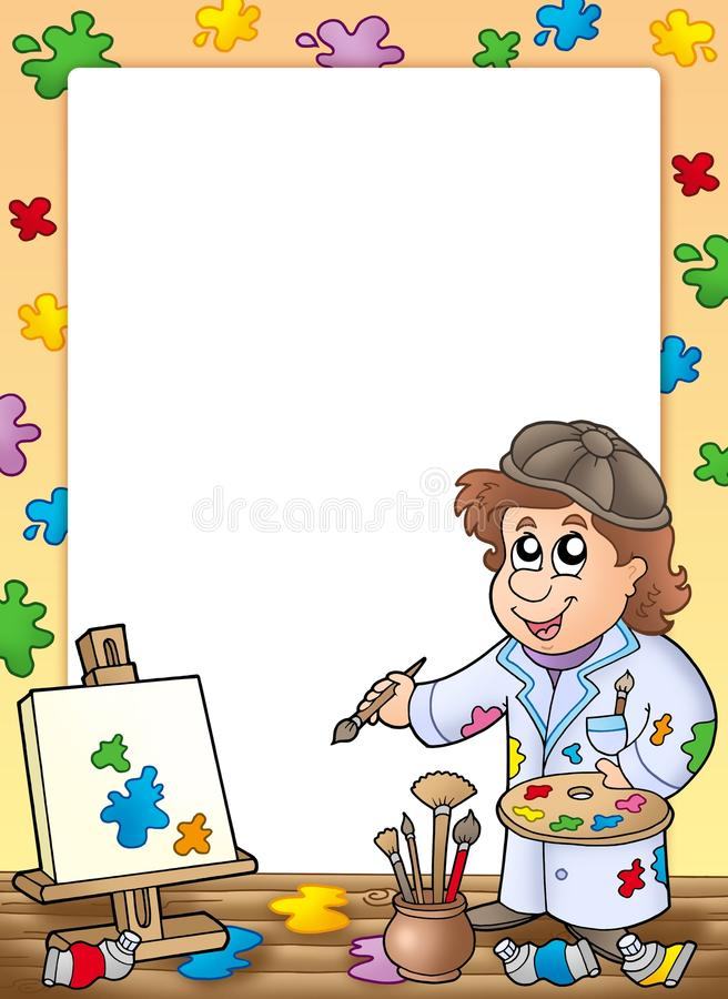 Frame with cartoon artist royalty free illustration