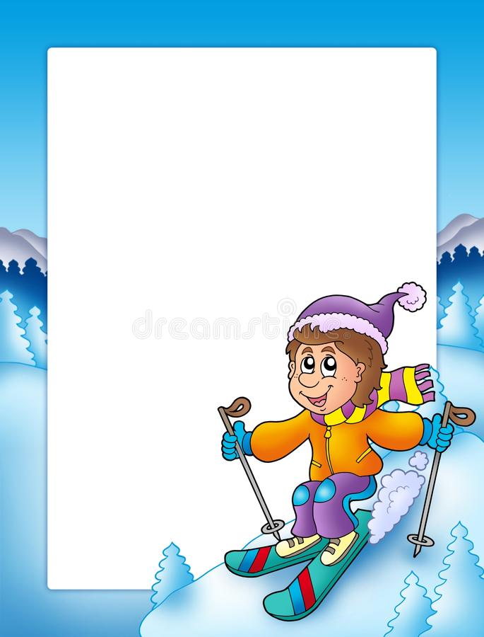 Frame With Cartoon Skiing Boy Stock Illustration - Illustration of ...