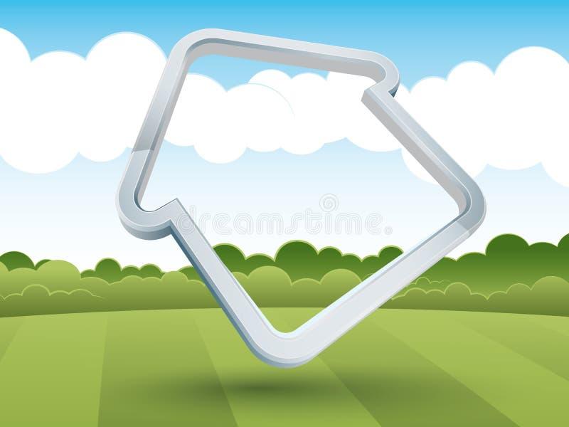 frame Casa-dado forma no campo ilustração stock