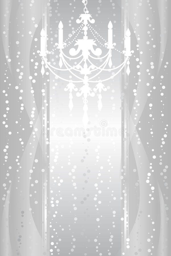 Frame with chandelier. Vector silver frame with chandelier vector illustration