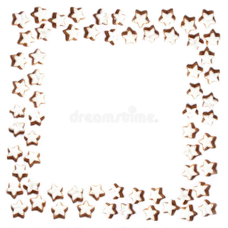 Frame of christmas cookies on white background stock image