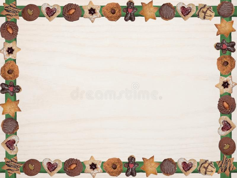 Frame with christmas home-baked cookies stock images