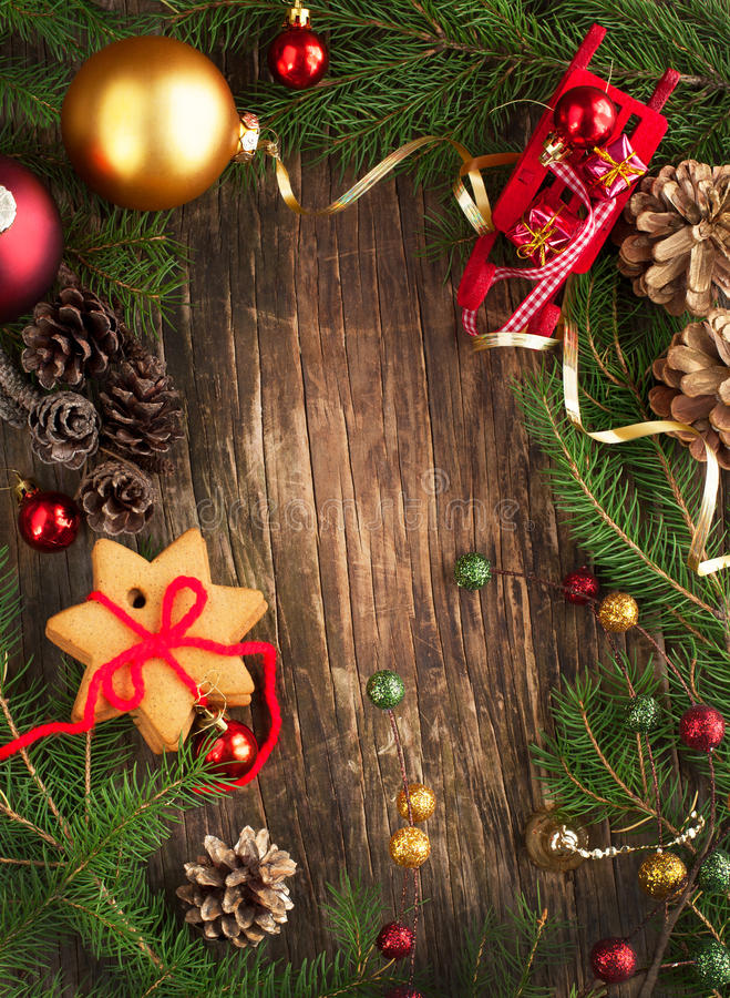 Download Frame With Christmas Tree Branches Cookies And Ornaments Stock Image