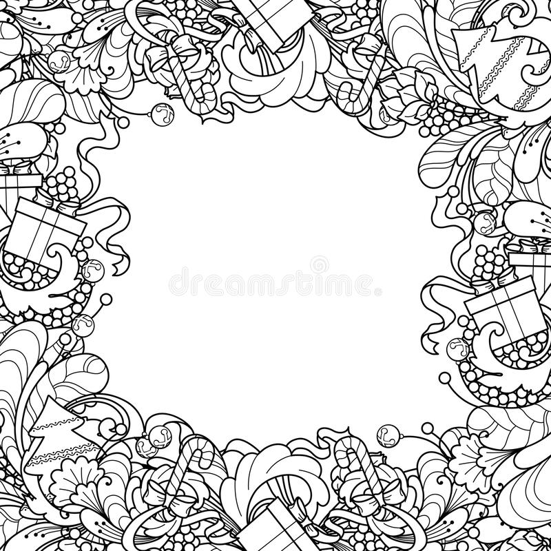 Frame with Christmas tree, gift box, bells in doodle styl. Christmas frame with Christmas tree, gift box, bells in doodle style. Floral, ornate, decorative stock illustration