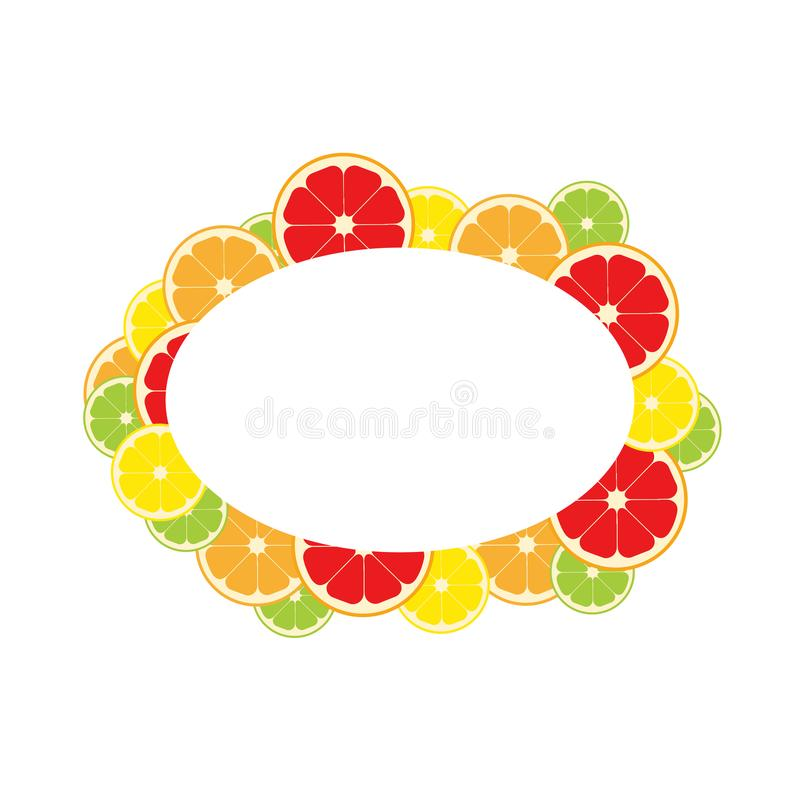 Frame citrus fruits. Lemon, lime, orange grapefruit Vector illustration stock illustration