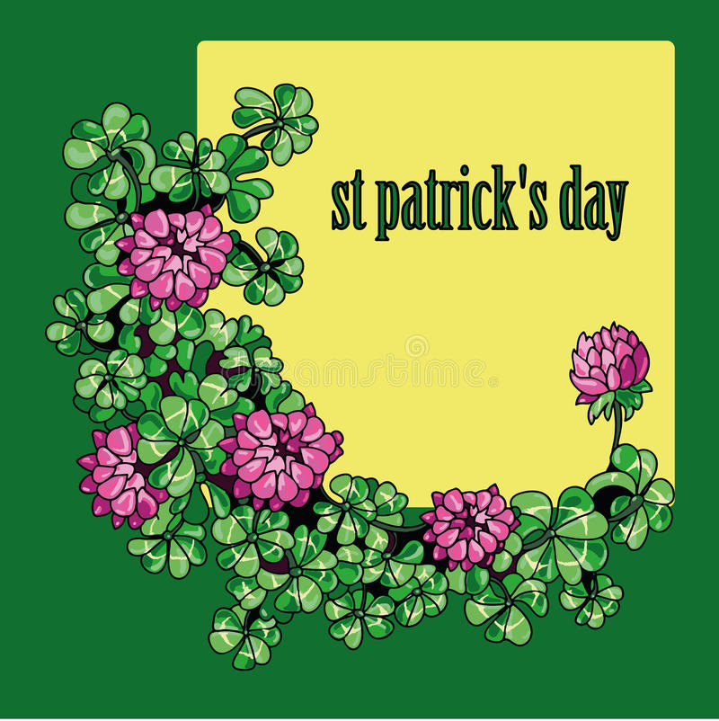 Frame Clover flowers and leaves St. Patrick's Day vector illustration