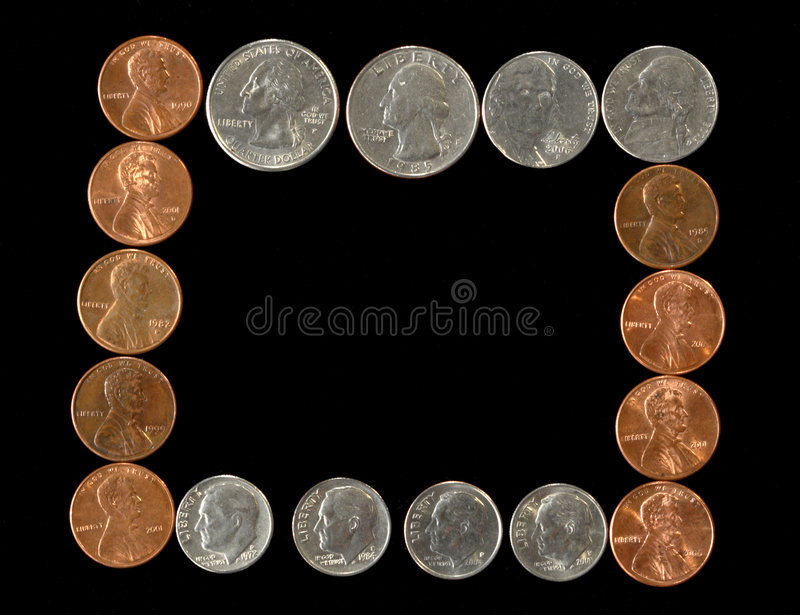 Frame of coins royalty free stock photography