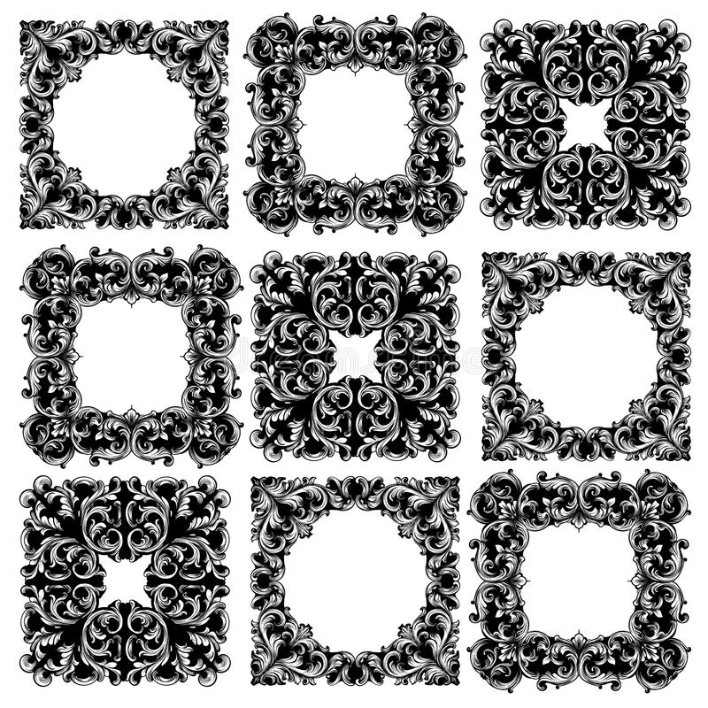Frame collection set Vector. Classic rich ornamented carved decors. Baroque sophisticated designs. Frame collection set Vector. Classic rich ornamented carved vector illustration