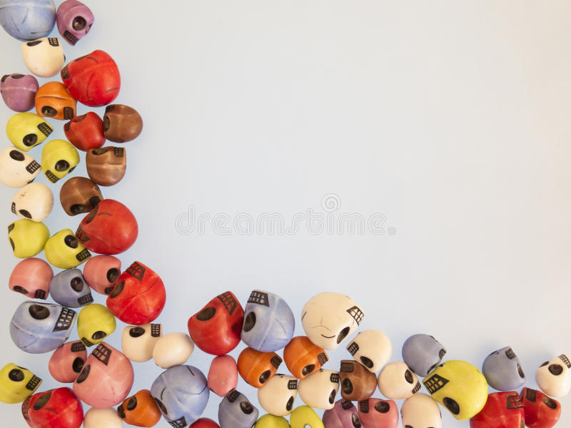 Frame color, funny skulls , red, blue, blue, red royalty free stock photography