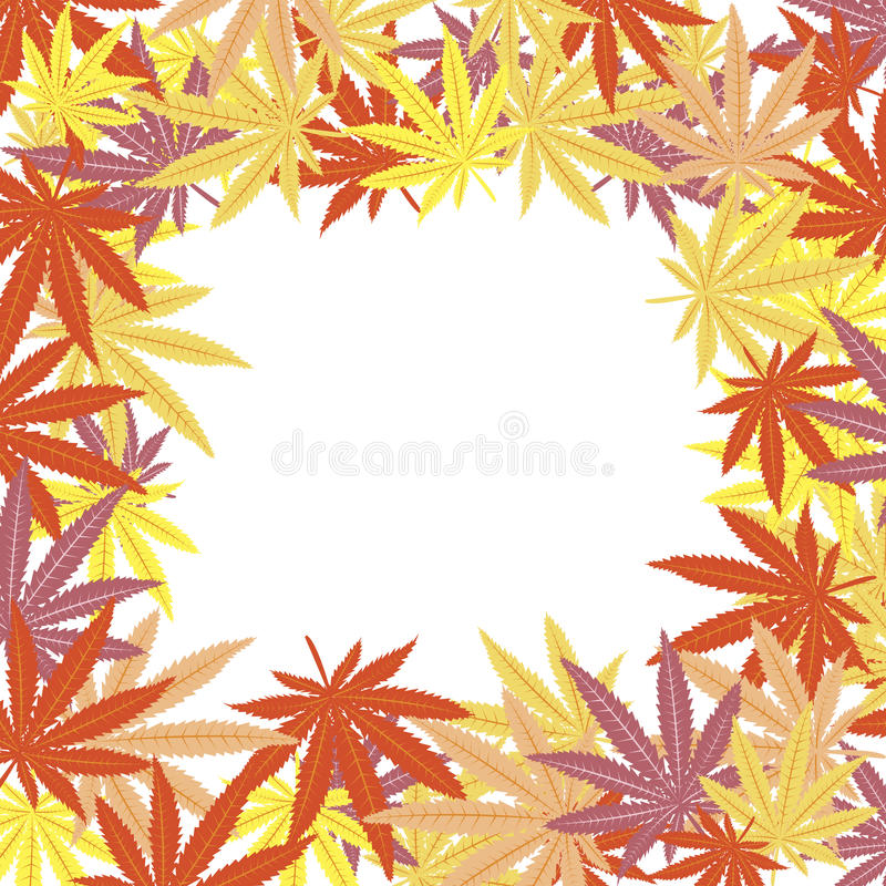 Frame With Colored Marijuana Leaves Stock Photos
