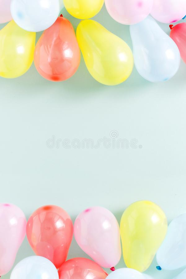 Frame colorful balloons Pattern decoration party flat lay top vi royalty free stock images