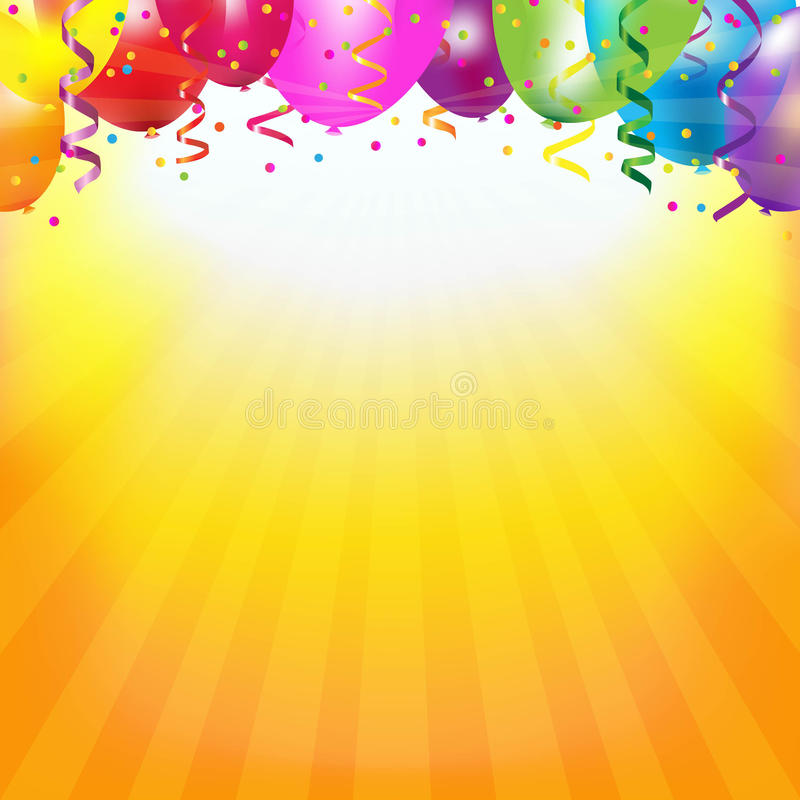 Frame With Colorful Balloons And Sunburst stock illustration