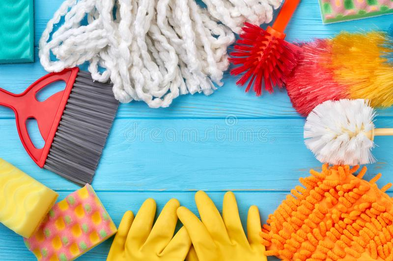 Frame from colorful cleaning supplies. stock photo