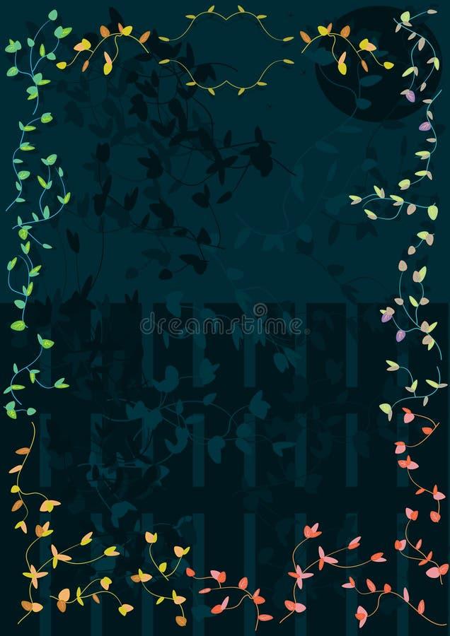 Frame colorido das folhas com a estrela da lua da cerca da noite ilustração stock