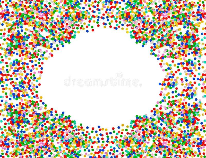 Frame colorido do confetti. vermelho, azul, verde, amarelo imagens de stock royalty free