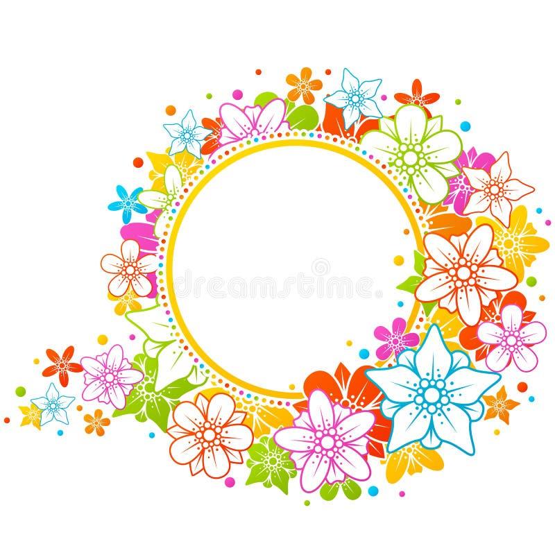 Frame colorido floral ilustração royalty free