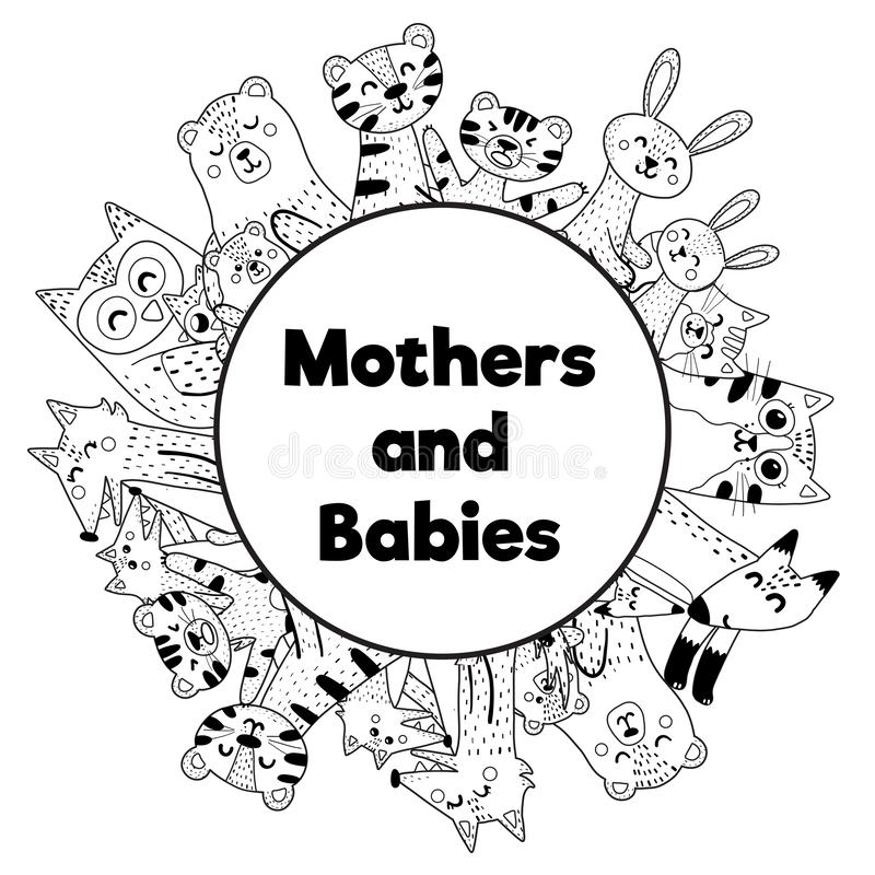 Frame for coloring page with cute animals - mothers and babies. Place for your text. Vector illustration vector illustration