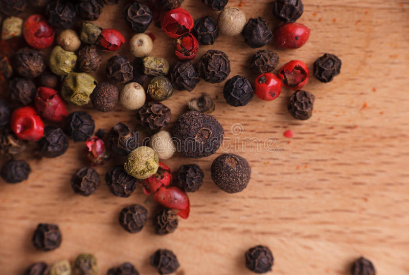 Frame Composition Of Spices On Wood Royalty Free Stock Photography