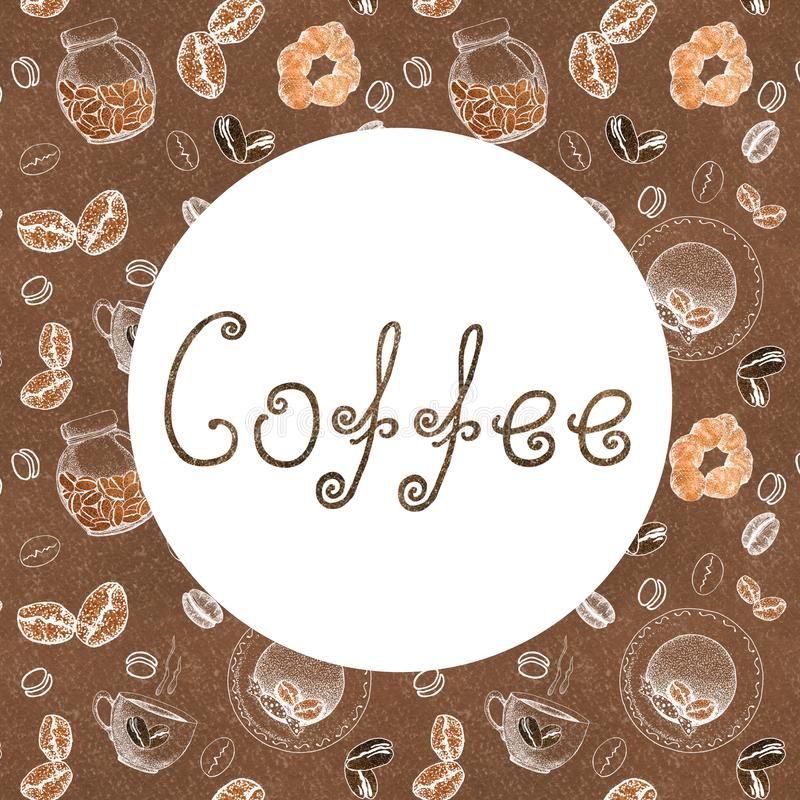 Frame for the concept of coffee design with the image of coffee, cups, rolls, cans and letters. Sketch, graphics for design prints royalty free illustration