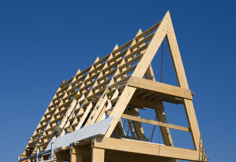 Frame construction. Of a modern house in Almere, the Netherlands stock photos