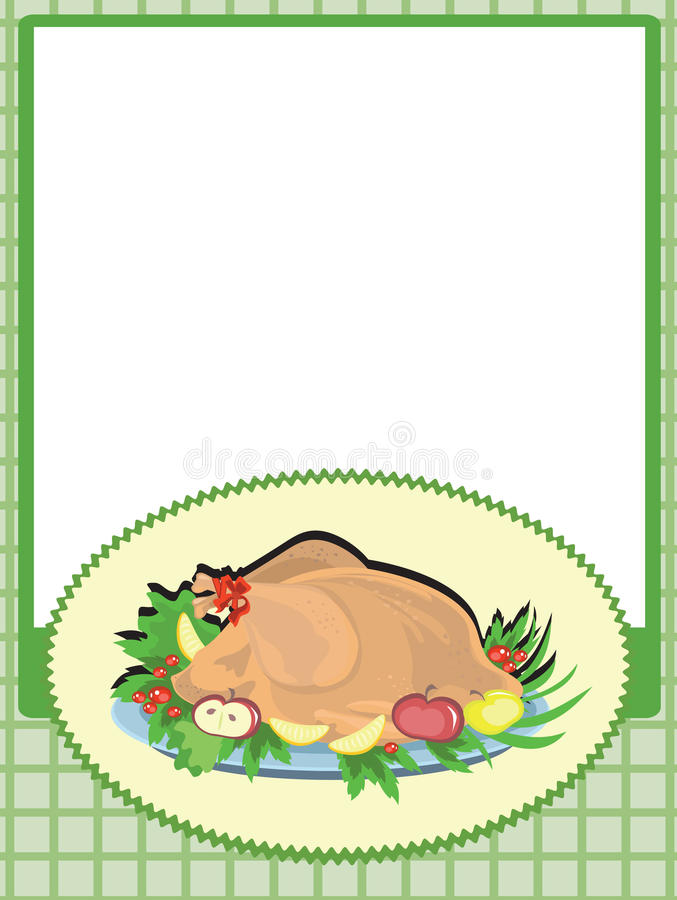 Frame with cooking turkey vector illustration