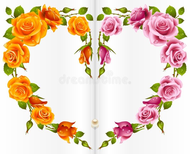 Frame cor-de-rosa da laranja e da cor-de-rosa na forma do coração ilustração royalty free