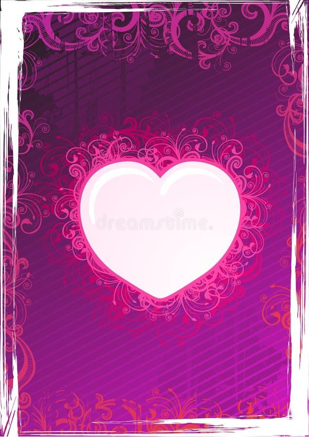 Frame cor-de-rosa floral do coração do vetor ilustração royalty free