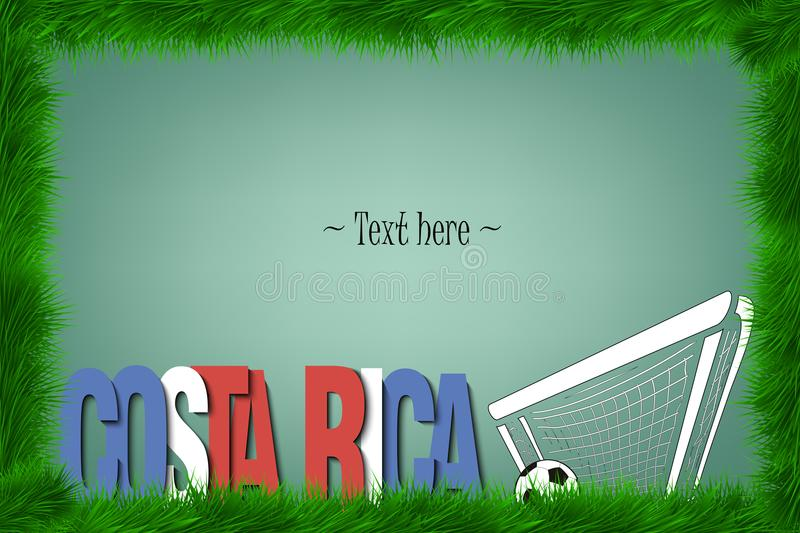 Frame. Costa Rica and a soccer ball at the gate royalty free illustration