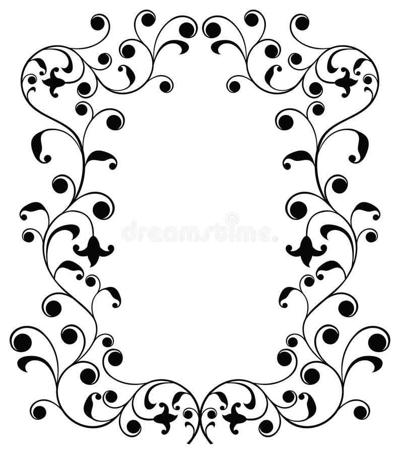 Frame with curls, border, vector stock illustration