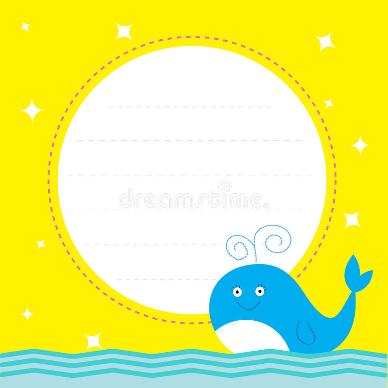 Frame With Cute Cartoon Whale And Sparkles Happy Birthday Party
