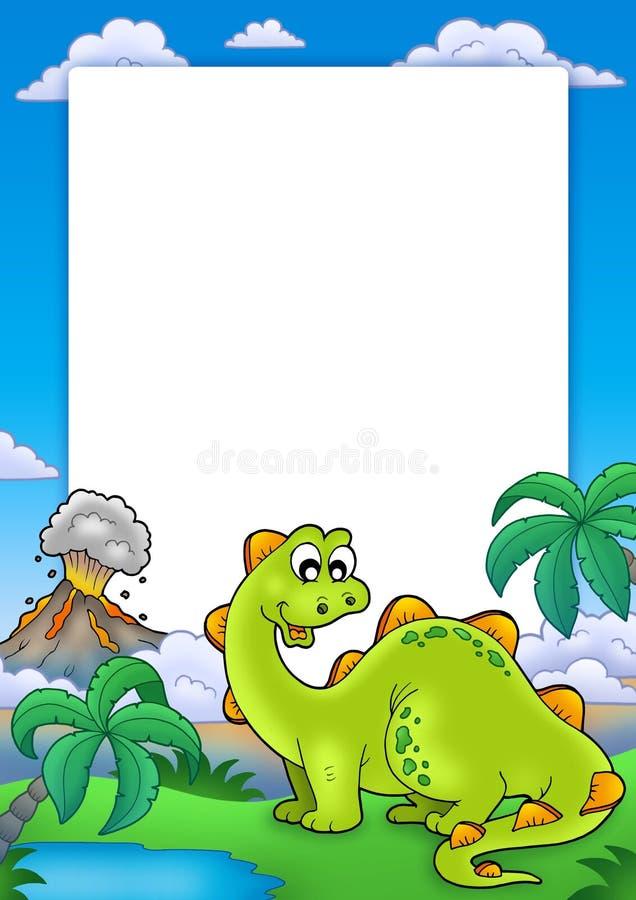 Frame with cute dinosaur