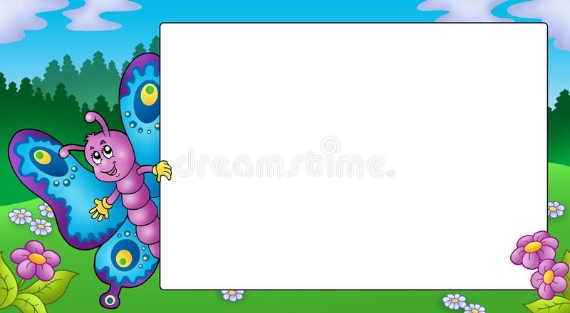 Frame with cute lurking butterfly